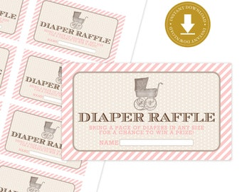 Vintage Carriage Baby Shower Diaper Raffle Tickets | Girl Baby Shower | Southern Baby Shower | Printable Diaper Raffle Tickets