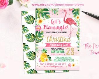Flamingo Birthday Invitation, Pineapple Invitation, Gold Flamingo Invitation with Palms, Luau Invitation Gold Pineapple Birthday