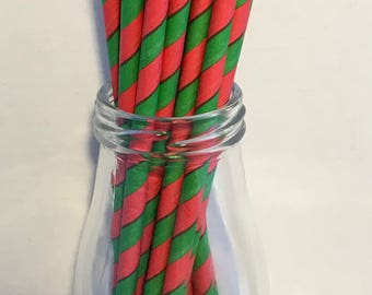 Red & Green Stripe Paper Straws, Mason Jar Straws, Party Decor, Straws, Christmas