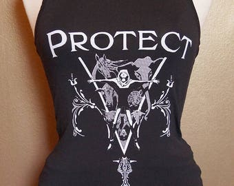 """Size 6 """"Protect"""" Tank, White Ink on Black"""