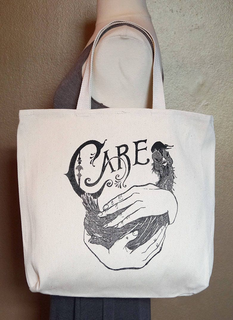 "Tote Bag ""Care"" Black Ink on Natural Cotton"