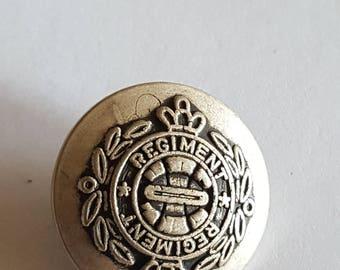 Vintage generic Regiment silver button, convex stylized laurel and crowns. 1960's