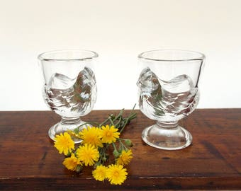 French Glass Egg Cups, Two Arc France Chickens, Arcoroc Serving Ware, Boiled Egg Holders, French Kitchen glassware
