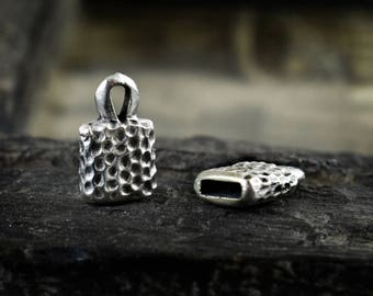 Antique Silver Cord Ends 14x9mm, Flat Silver Terminals, for 5mm Flat Cords, Silver End Cap, 4 pieces