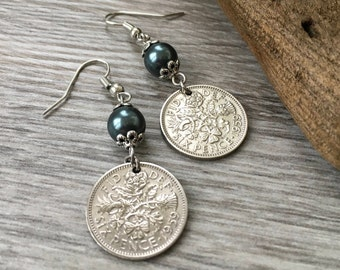 58th birthday gift 1959 British sixpence earrings, pretty English coin Jewelry, retirement present for her, woman, mum, aunt, friend, sister