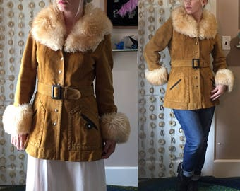 Vintage 70's PENNY LANE MoD LEATHER FuR Trimmed Suede Winter Almost Famous Style BeLTED CoAT
