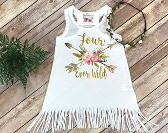 Fourth Birthday, Four Ever Wild, Girl Birthday Dress, 4th Birthday, Fringe Birthday Dress, Boho Birthday, Girl Birthday Shirt, For Ever Wild