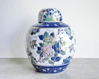 "Vintage 10"" Porcelain Lidded Jar / Gilt Lidded Vase / Asian Floral / Blue White Pink / Asian Cottage Country Traditional Decor"