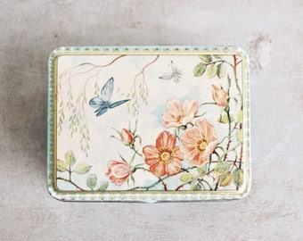 Vintage Metal Tin / Lidded Container / Trinket Box / Butterflies and Roses Enamel Decoration / Made in Holland / Green Blue and Light Peach