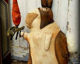 Primitive Folk Art Handcrafted Louis Rabbit & His Carrot-Whimsical-Easter-Rabbit-Bunny-Home Decor, Easter Decor