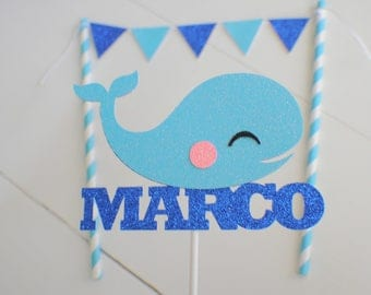 Whale cake topper, Nautical cake Topper, Whale party, Whale decor