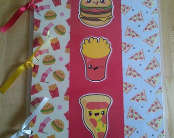 Kawaii Fast Food Hamburger Pizza Fries Sticker Album Collector Book with starter set of scratch and sniff stickers (assorted)