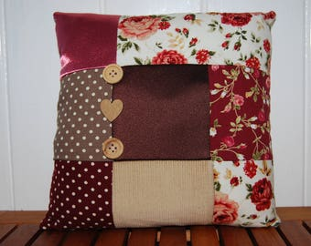 "8"" (20cm x 20cm) Brown & Red Vintage Floral Patchwork Cushion"