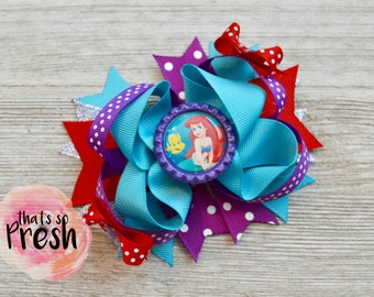 Little Mermaid Hair Bow, Ariel Hair Bow, Purple Mermaid Bow, Disney Princess Bow, Aqua Mermaid Bow, Ariel Little Mermaid Birthday Party
