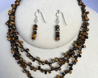 Faceted Tiger Eye Gemstone Southwest Style Long Necklace, Wrap Bracelet, Hand Crochet on Pure Silk, Matching Earrings, Sterling Silver