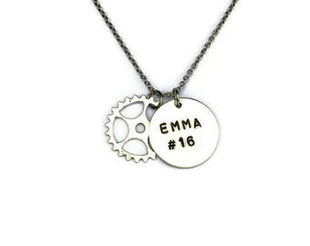 Personalized Sprocket Necklace - Motocross - Motocross Jewelry - Dirt Bike - Dirt Track Racing - Moto Mom - Sprint Car - Personalized