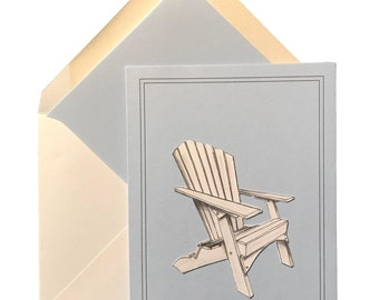 """Addy Chair Note Card w/ matching lined envelope, Adirondack Chair, Fun, Any Occasion, Summer, Sky Blue, White, Blank Inside,  4.5"""" X 6.25"""""""