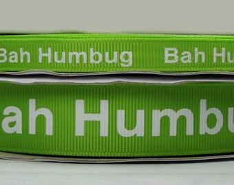 "2 or More Yards 3/8"" US Designer New Apple Green Bah Humbug Christmas Holiday Print Grosgrain Ribbon"
