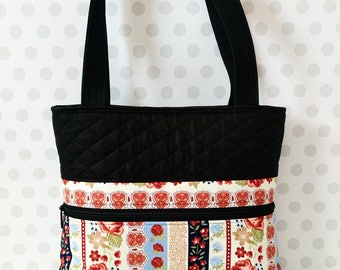 Floral Stripes Shoulder Bag / Cotton Purse / Magnetic Snap Closure