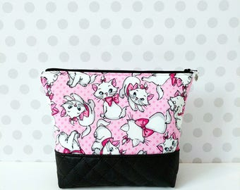 Large Makeup Pouch / Marie in Pink Polka Dot / The Aristocats