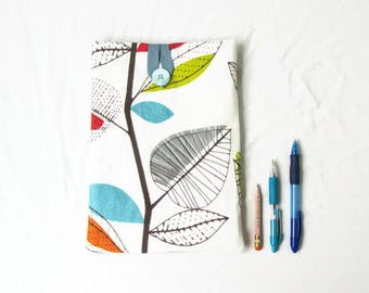 10 inch tablet case, bright leaf print, fabric tablet sleeve, bright Ipad case, fabric ipad cover, gift for her, handmade in the UK