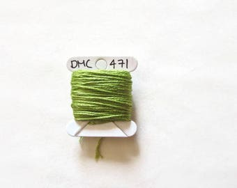 Natural Green embroidery thread,  DMC 471, stranded embroidery floss, cross stitch supplies, stranded cotton