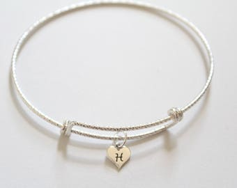 Sterling Silver Bracelet with Sterling Silver H Letter Heart Charm, Silver Tiny Stamped H Initial Heart Charm Bracelet, H Charm Bracelet