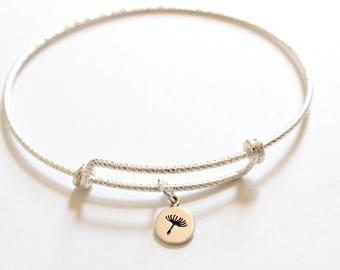 Sterling Silver Bracelet with Sterling Silver Tiny Dandelion Charm, Little Dandelion Charm Bracelet, Dandelion Bracelet, Dandelion Bracelet