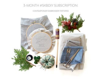 3 Month Subscription - Sarah K. Benning Monthly Pattern Program - December Norfolk Pine PDF - Contemporary Embroidery Pattern - #SKBDIY