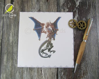 Steampunk Dragon Blank Card, Dragon Card, Steampunk Card, UK