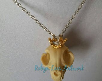 Queen Cat Large Resin Cat Kitten Skull Necklace with Small Gold Crown Tiara on Silver, Bronze or Gold Crossed Chain or Black Faux Suede Cord