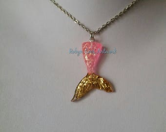 Pink & Gold Resin Mermaid Tail Necklace on Silver Crossed Chain or Black Faux Suede Cord. Mythical, Nautical, Fish, Ocean, Beach