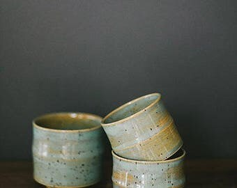 Bamboo tea cups | wheel thrown handmade ceramic tea set