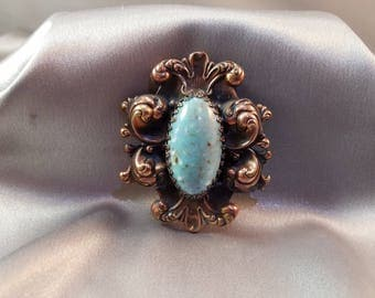 Vintage Turquoise and Copper Victorian Dress Clip/Scarf Holder