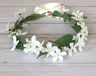 Adult Ivory Flower Crown, Bridal Shower Flower Crown, Boho Flower Crown,  Boho Bridal Shower Crown, Engagement Shoot, Natural Flower Crown