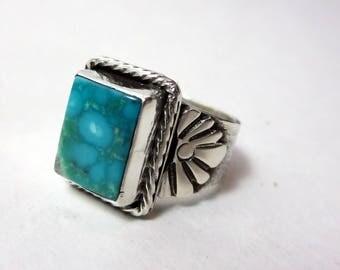 Turquoise Statement Ring, Size 8.5, Kingman water web Turquoise, Sterling Silver, Rare Turquoise ring