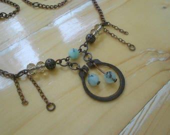 Elvish Necklace with AmazoniteStones+CzechGlass+Copper+Iron 'Horseshoe' ~Meteor Mint~ Rustic Minimalist Necklace in Mint Green & Copper