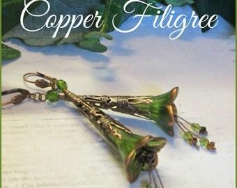 COPPER FLIGREE  Lucite Flower Earrings, Victorian Earrings, Czech Crystals, Hand Painted Trumpet Flower Earrings, Long Dangle, Ravengirl