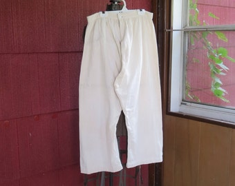 "Vintage 1900s 1910s Edwardian split crotch bloomers ecru cream dra ers  undergarment cotton duck twill flannel 30"" waist 43"" hips"