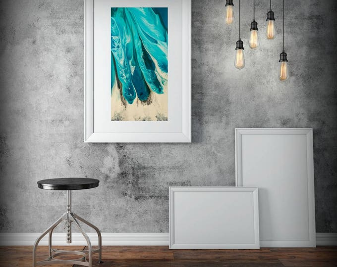 "Large Abstract Print from canvas painting 24x48"" giclee Blue painting with green - modern Painting wall art prints by L Dawning Scott"