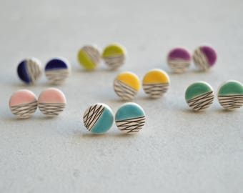 Teenage girl gifts, colorful stud earrings, stocking filler, geometric ceramic jewelry, Christmas gift