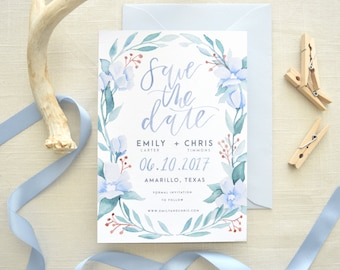 Save the Date - Forget me Not, Blue Florals