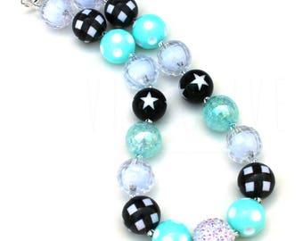 Girl's Chunky Bubblegum Necklace - Aqua Black White - Kids Chunky Jewelry - Chunky Necklace for Girls - Buffalo Plaid - Polka Dot Party