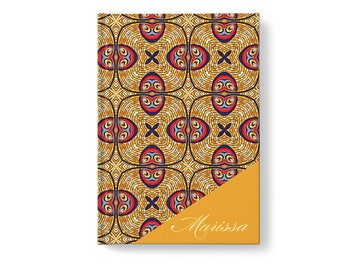 Foil Personalized Journal, Yellow Ankara Print Pattern, Personalized Journal Notebook, jn0001