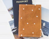 See The World Polka Dot Stamped Leather Passport Cover, Travel Wallet, Passport Case | The Earhart
