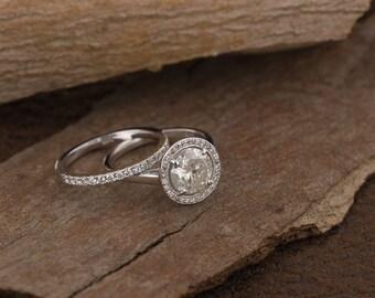 On sale!!! 1.60 carat wedding set-Halo diamond engagement wedding sets-14K white Gold-Promise ring-diamond engagement ring-Wedding band