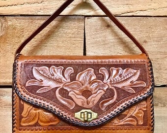 Vintage Tooled Leather  Clutch Handbag Vtg Handtooled Brown Floral Western Purse with Brass Hardware
