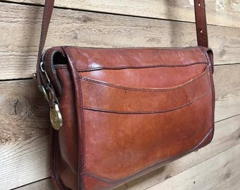 Vintage Brahmin Crossbody Purse Vtg Brown Leather Designer Handbag Made in USA