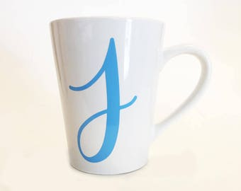 Coffee Mug - Single Letter Initial Cursive Script Font Mug with Handle / Last Name Initial / First Name Initial / Custom Personalized / J
