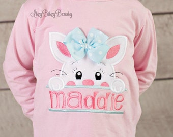 Girls Pink Easter Bunny Shirt - Girls Easter Shirt - Bunny With Bow - Easter Shirt - Personalized Name